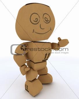 Cardboard Box figure offering a handshake