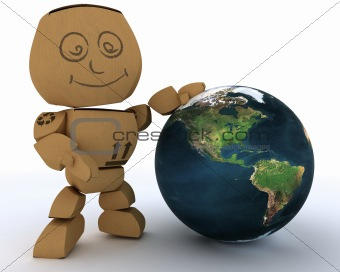 Cardboard Box figure with globe