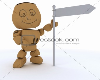 Cardboard Box figure with blank white road sign