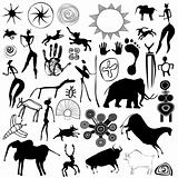 cave painting - primitive art - vector