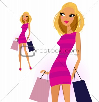 Blond woman with shopping bags isolated on white background