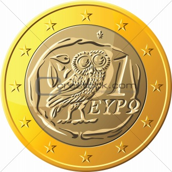 vector Greek money gold coin one euro featuring owl
