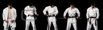 Karate male fighter dressing kimono high contrast composite secuence on black background.