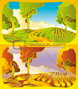Autumn and summer landscape