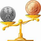 vector German mark versus the euro