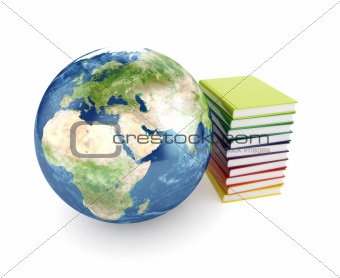 Earth planet and books