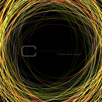 Abstract colorful scribbles on a black background with space for