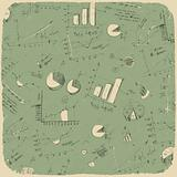Business charts. Retro styled background, vector illustration, E
