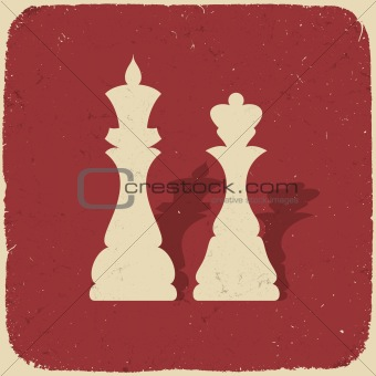 King and queen. Retro chess background, vector illustration, EPS