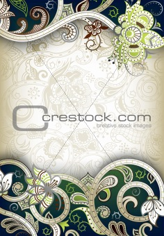 Abstract Green Floral Background