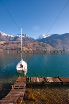 Anchored Sailboat Alps Lake