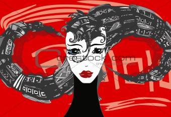 Girl Face Hair Red
