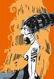 Girl Profile Orange Drawing