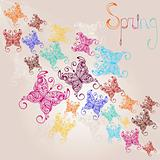 vector spring background with colorful butterflies