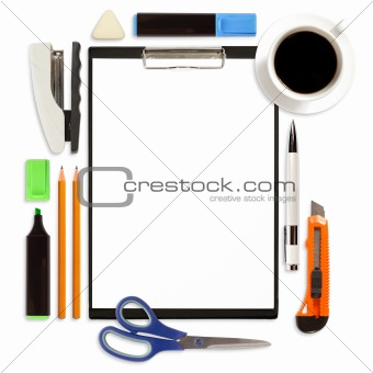 Clipboard With Office Supply Isolated