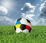Soccer ball With Ukraine and Poland Flags