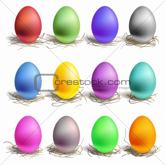 Color easter eggs in the nest, set of colour