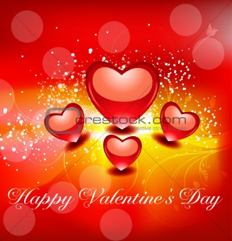 abstract glossy valentine's day card with floral