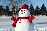 Amusing,snowman in his red outfit