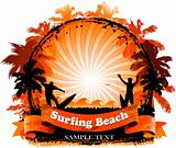 Orange Surfing Beach Design