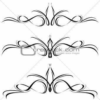 Abstract black flora design element.