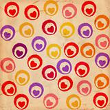 coloured hearts on old paper