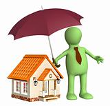 Man holding umbrella over house