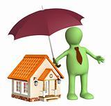 Man holding umbrella over house