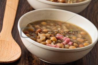 Borlotti bean and spelt soup.