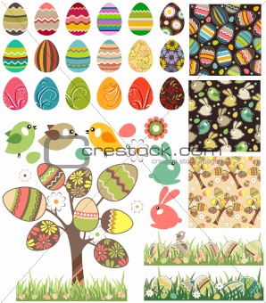 Big easter set with traditional eggs