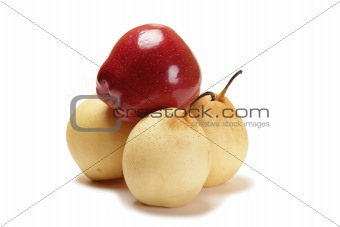 three honeyed pear and red apple