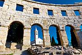 Ancient Roman Amphitheater and Church in Pula, Istria, Croatia