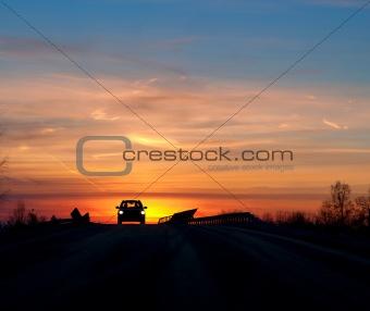 Car in sunset