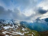 Evening cloudy Alps summer view