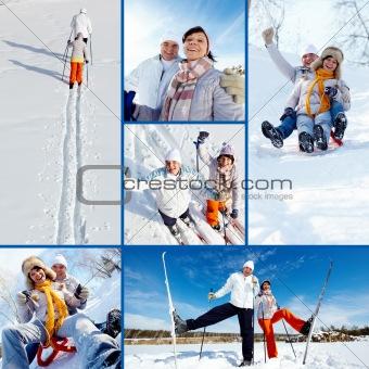Skiers in park