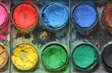 Very old messy used water color paint box