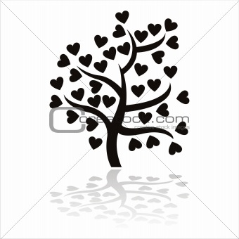 black tree icon with hearts