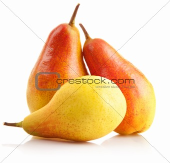 fresh pear fruits isolated