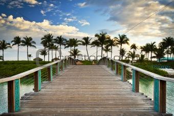 Tropical Ocean Beach Summer Vacation Palm Trees Paradise Resort Bridge
