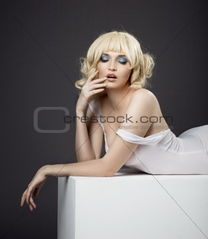 sensuality potrait of pretty woman in white cloth