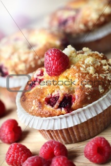 Cupcake with raspberry