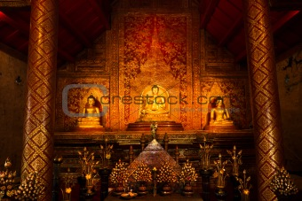 """Phra Sihing Buddha"" Thai gold statues"