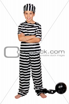 Adorable child with prisoner ball