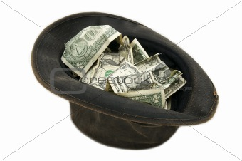 Small notes of dollars in the hat