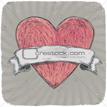 Retro styled tattoo heart with ribbon for your text. Layered. Ve