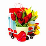 gift boxes, chocolate and fresh flowers