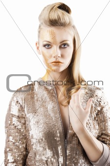the sequin glittering creative make up girl, she is in front of