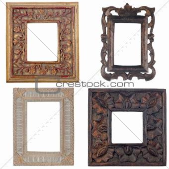 Four antique picture frames