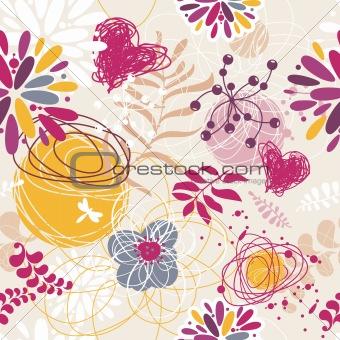 abstract seamless floral retro background