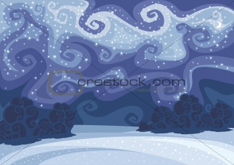abstract vector winter night landscape